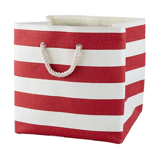 Red Striped Floor Bin