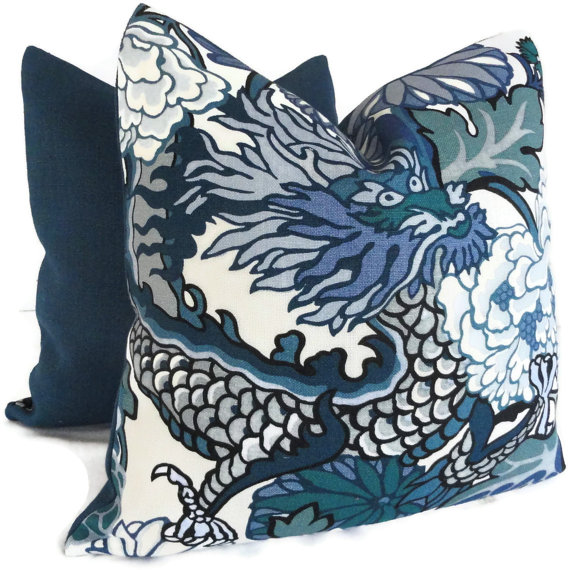 Schumacher China Blue Chiang Mai Dragon Decorative Pillow Covers