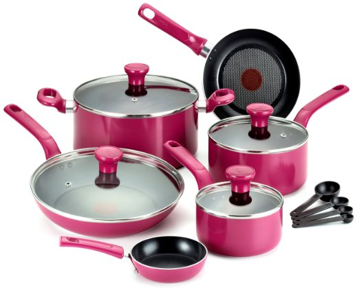 T-fal Excite Pink Nonstick Thermo-Spot Cookware Set