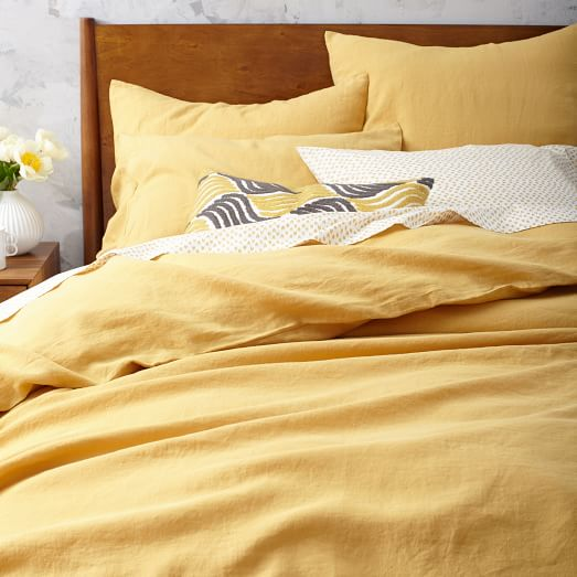 Yellow Belgian Linen Duvet Cover