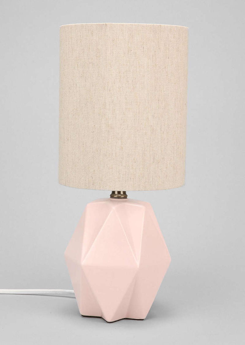 Faceted Pastel Pink Table Lamp