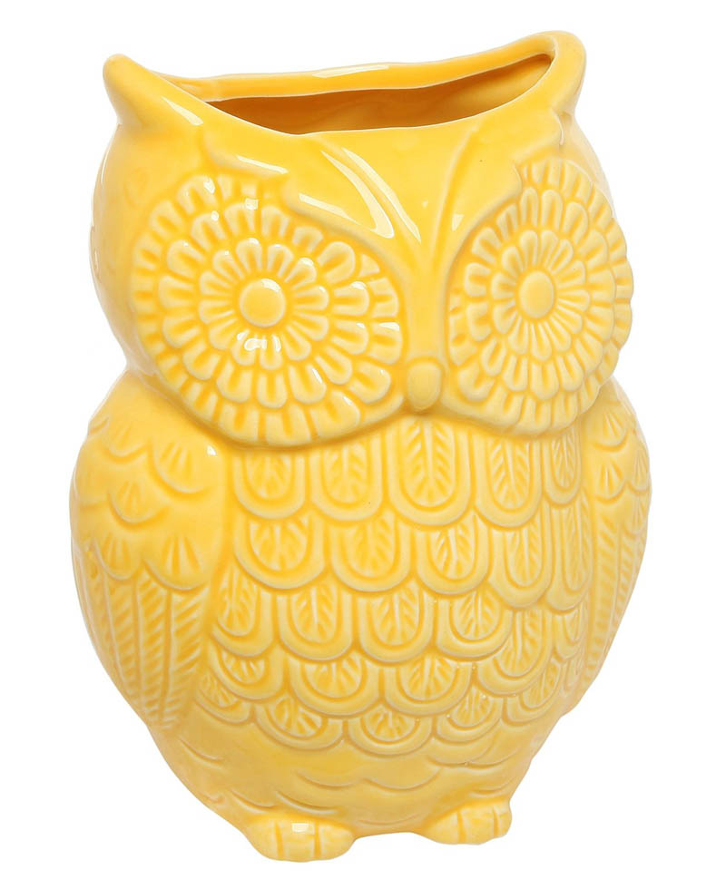 Yellow Owl Design Ceramic Cooking Utensil Holder