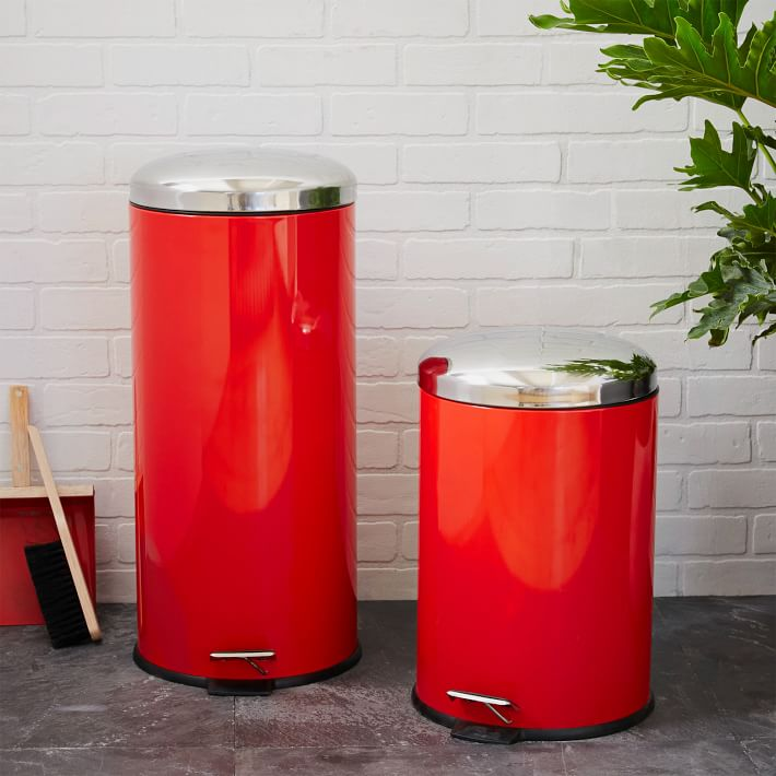 Red Metal Step Trash Can