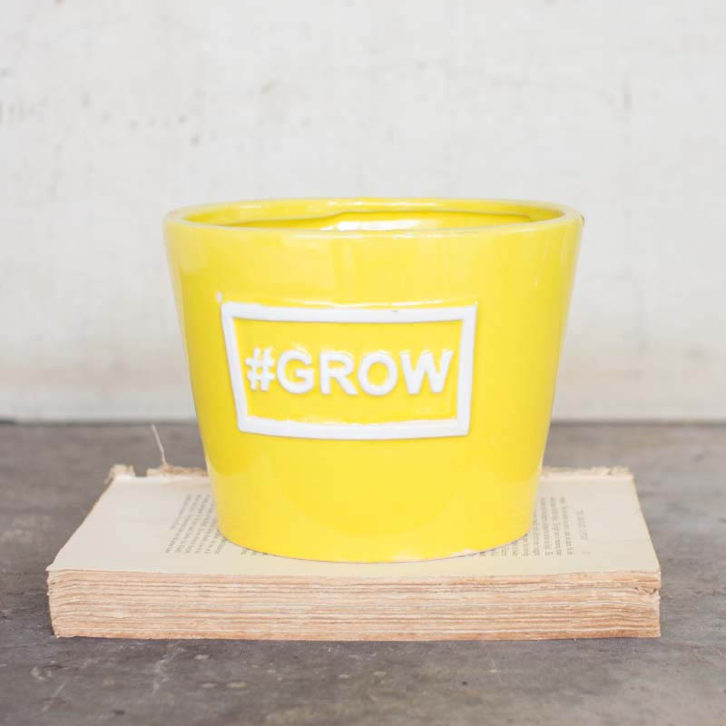 Yellow Ceramic #GROW Planter